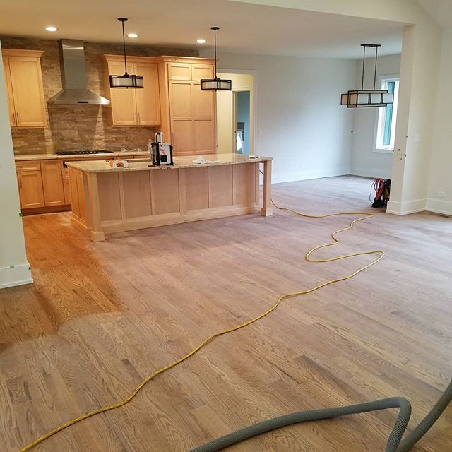Working on the final coat, closing tomorrow.  #newhome #oakflooring #oak #genevail #stcharlesil #legendaryflooring #homeimprovement #nutmeg