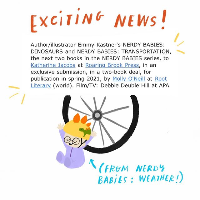 Exciting news! Two more books are coming into the Nerdy Babies world ... books 5 & 6— Dinosaurs and Transportation! Now off to practice drawing skateboards and dinosaur feathers. (I pulled this tiny illustration from the upcoming Nerdy Babies: Weather book, which now serves as a fun little Easter egg for upcoming books! 🎉) #kidlit #nerdybabies #dinosaurs #transportation #morebooks