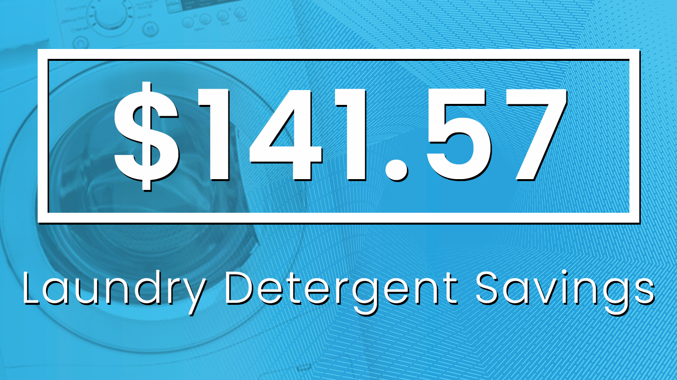 Cost to Buy Laundry Detergent - 8 Loads x 52 Weeks = 416 Loads/Year416 Loads ÷ 32 oz./Load = 13 Containers13 Containers x $10.89 = $141.57 in Laundry Detergent