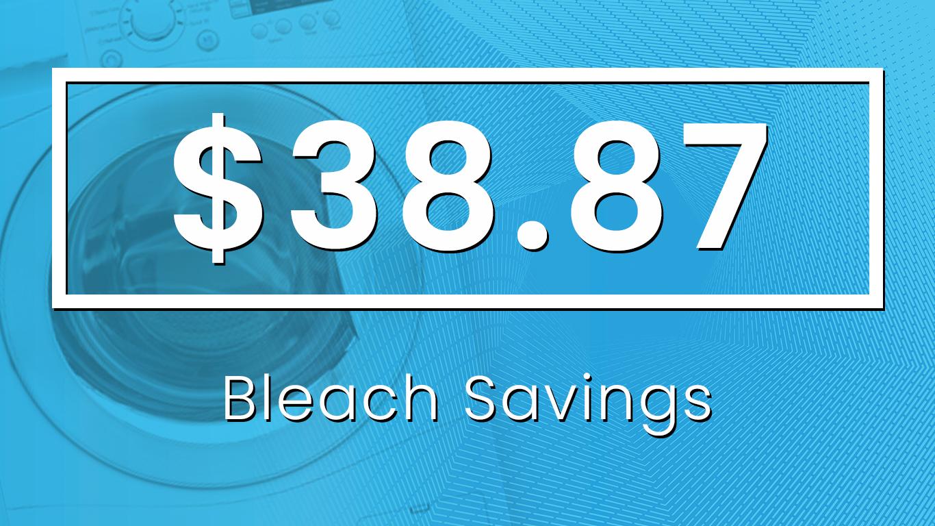 Cost to Buy Bleach - 3 loads x 52 Weeks = 156 loads/year156 loads x 8 oz. = 1,248 oz.1,248 oz. ÷ 96 oz./container = 13 containers13 containers x $2.99 = $38.87 in Bleach