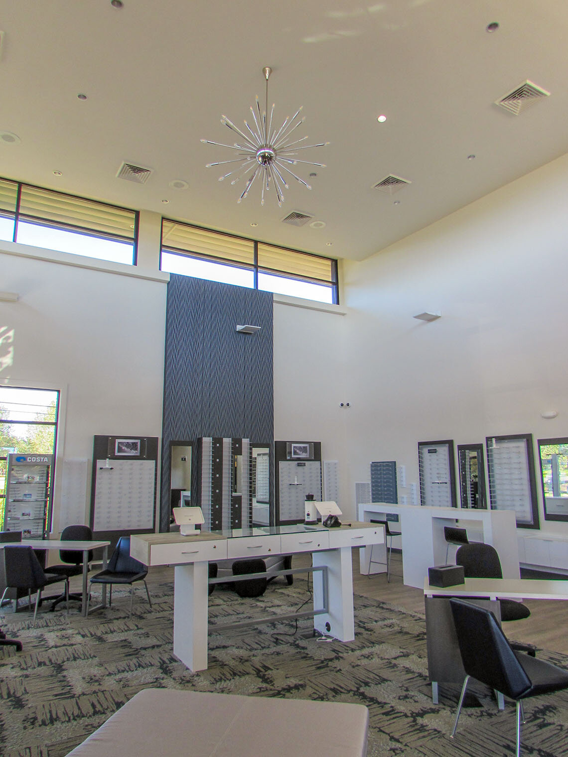 Lots of natural light and high ceilings make the optical department stand out.