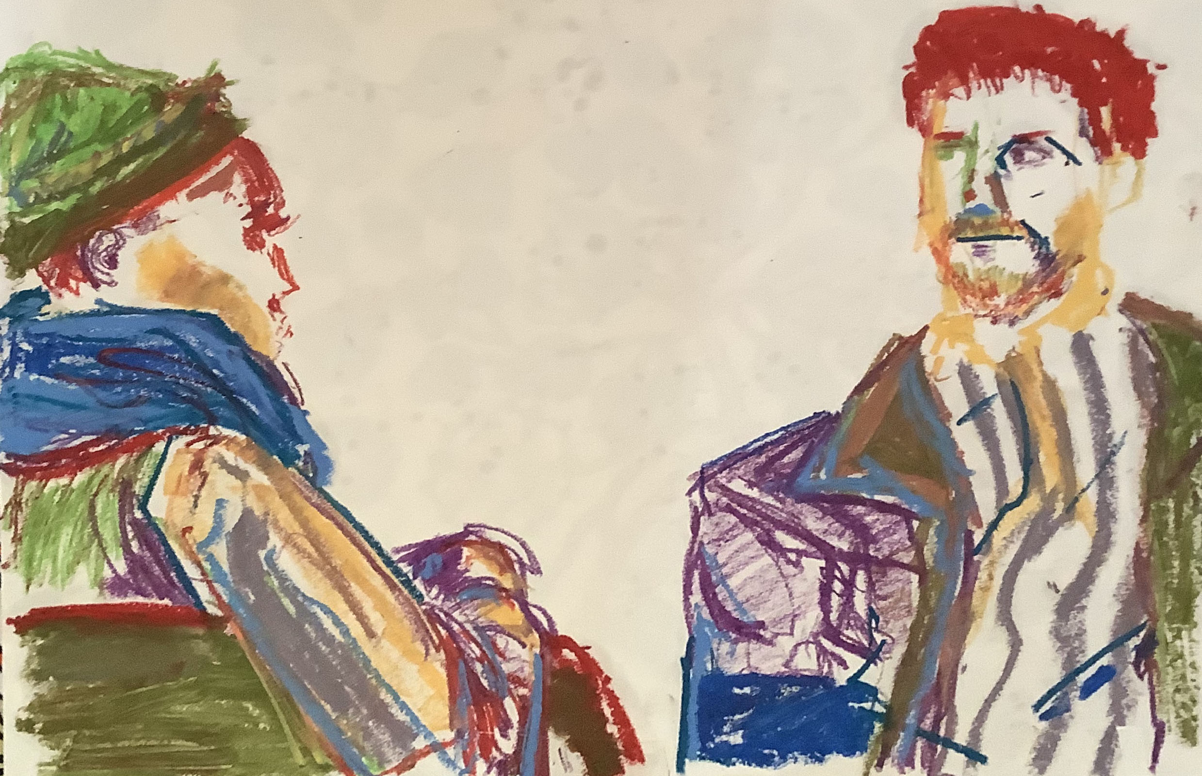 live model drawing; oil pastels