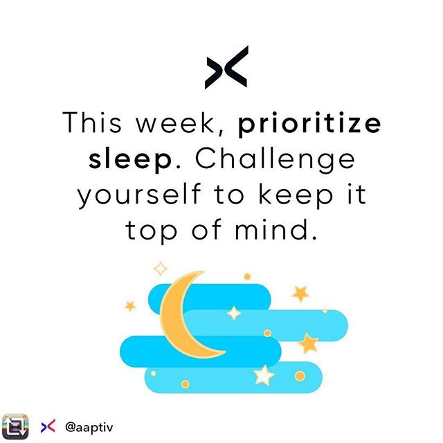 #Repost from @aaptiv - 💤s are so essential, but they're usually the first to go when life gets busy. This week, challenge yourself to go to bed just one hour earlier. Your productivity will thank you 🙏🌙 #TeamAaptiv