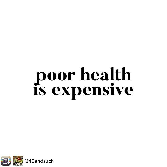 "#Repost from @40andsuch - The other day I had a woman tell me that I am speaking from a ""privileged"" place when I say that people should eat healthy and organic. 🤔. She then said that research shows that eating healthier costs an extra 1.50 a day. I don't know if this is true, but if it is, there is no argument. We can find a 1.50 a day SOMEWHERE in our spending. Trust me, what it costs to be sick is waaaay more than that. Maybe our sick care is paid for here in Canada (by our taxes), but I'm not talking about drs visits and drugs. I'm talking about time off work, loss of job, perhaps even a spouse needing to take time off to care for you... etc. And those costs are monetary. Then factor in time, energy, emotions. An illness - especially a chronic one-in any family is expensive in many ways. Trust me- I've been there with my parents and my mother in law. People wonder why I care so much about health. It's because I have seen first hand how much it costs me and my whole family to go through what we have been through. If I can try to prevent from that happening again, if I can stay healthy so my kids don't bear the ""cost"", if I can live a long life full of vitality- I will be giving my loved ones a gift that money cannot buy. When you don't have your health it will be the ONLY thing you beg for. Eating better is one of the best things you can do for your body. You don't have to make big sweeping changes- just start small. One foot in front of the other. You can do it. ❤️"