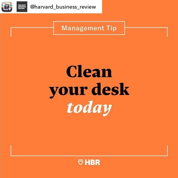 "#Repost from @harvard_business_review - If your desk is a mess, you might be too. Research shows that clutter adds to our stress and anxiety levels, detracts from our ability to focus, and makes us seem less conscientious and agreeable. That's why you should make a habit of tidying your workspace. . Try blocking off a few minutes on your calendar every week to sort through your piles of stuff. Managers may want to establish ""spring cleaning"" days (pro tip: order a pizza for motivation) or institute a clean desk policy for shared spaces. . When it comes to managing digital clutter, ask IT for tools to organize online documents and advice on which items can be discarded. And if you work at home, set up a designated workspace so that you have a boundary between work items and home items. (It's worth noting that research has also found messy environments can encourage creativity — you just don't want your desk to get too chaotic.) . If you find this tip helpful, tag @harvard_business_review in a story with your before and after desk pictures and we may share them. — Adapted from ""The Case for Finally Cleaning Your Desk,"" by Libby Sander."