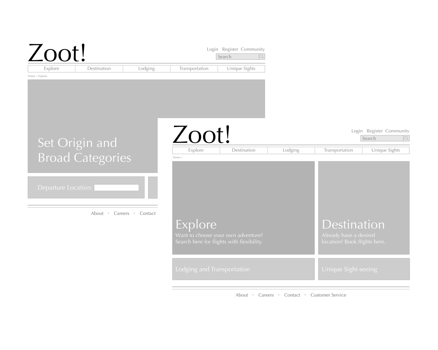 "Wireframes - Hand sketches translated into digitized wireframes provided a general, starting layout. The visual hierarchy directed to ""Explore"" as it fulfills three aspects of the user goal: adventurous, unique, and off the beaten path. Here, users are able to set a departure location and explore arrival destinations."