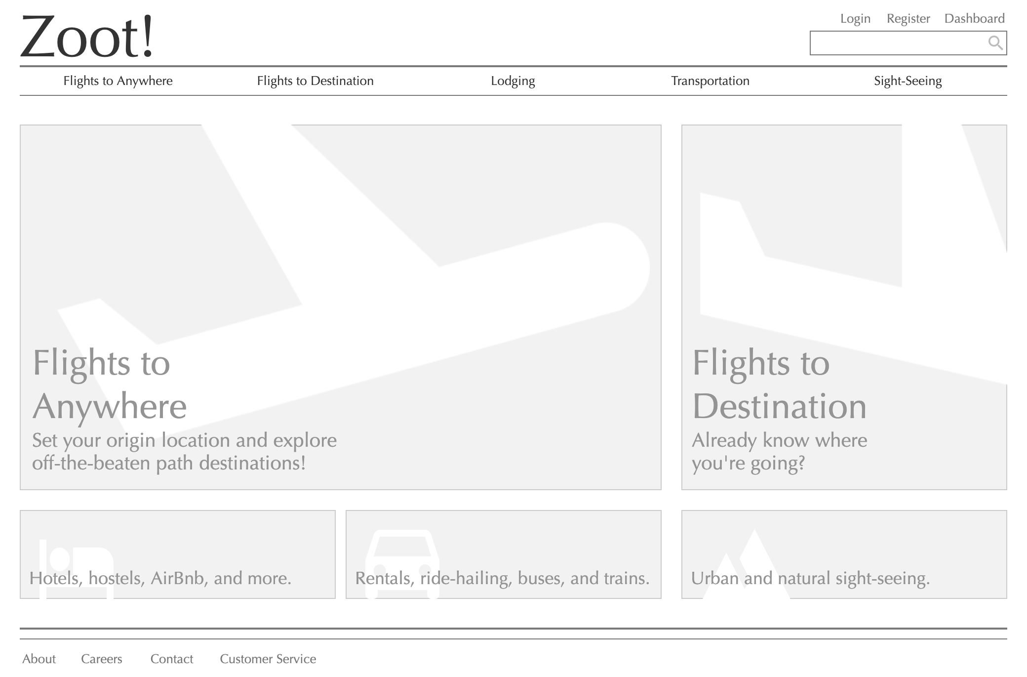 "refining content - At this stage of the design process, placeholder content was replaced with text and simple imagery that influenced the mental model of the website. For example ""Explore"" got replaced with specific text, like ""Flights to Anywhere"", to note exactly what the user was to expect from this section."