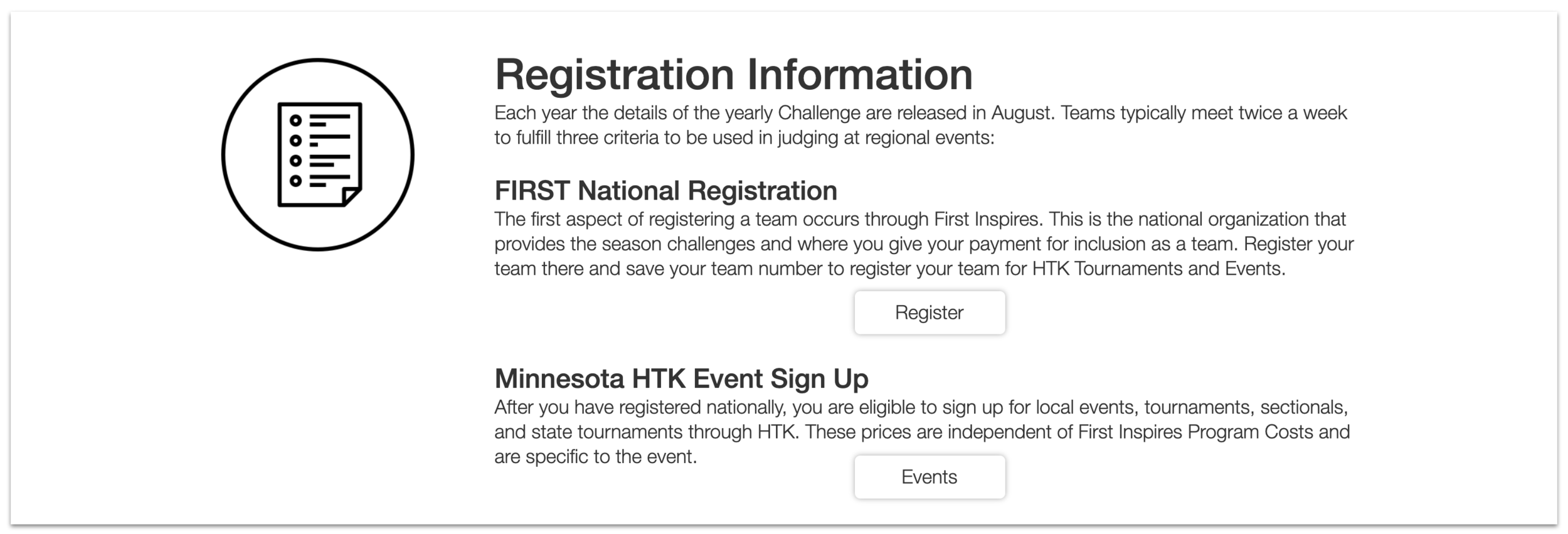 Registration and Events