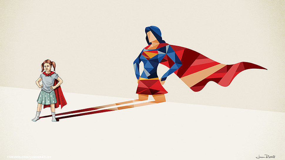 "Artist Jason Ratliff's series ""Super Shadows"" shows popular superheroes in kids' shadows."
