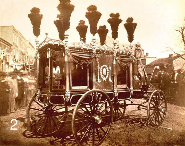This image, taken in 1865 in Springfield, Illinois, is the only known photograph of the hearse used for Abraham Lincoln
