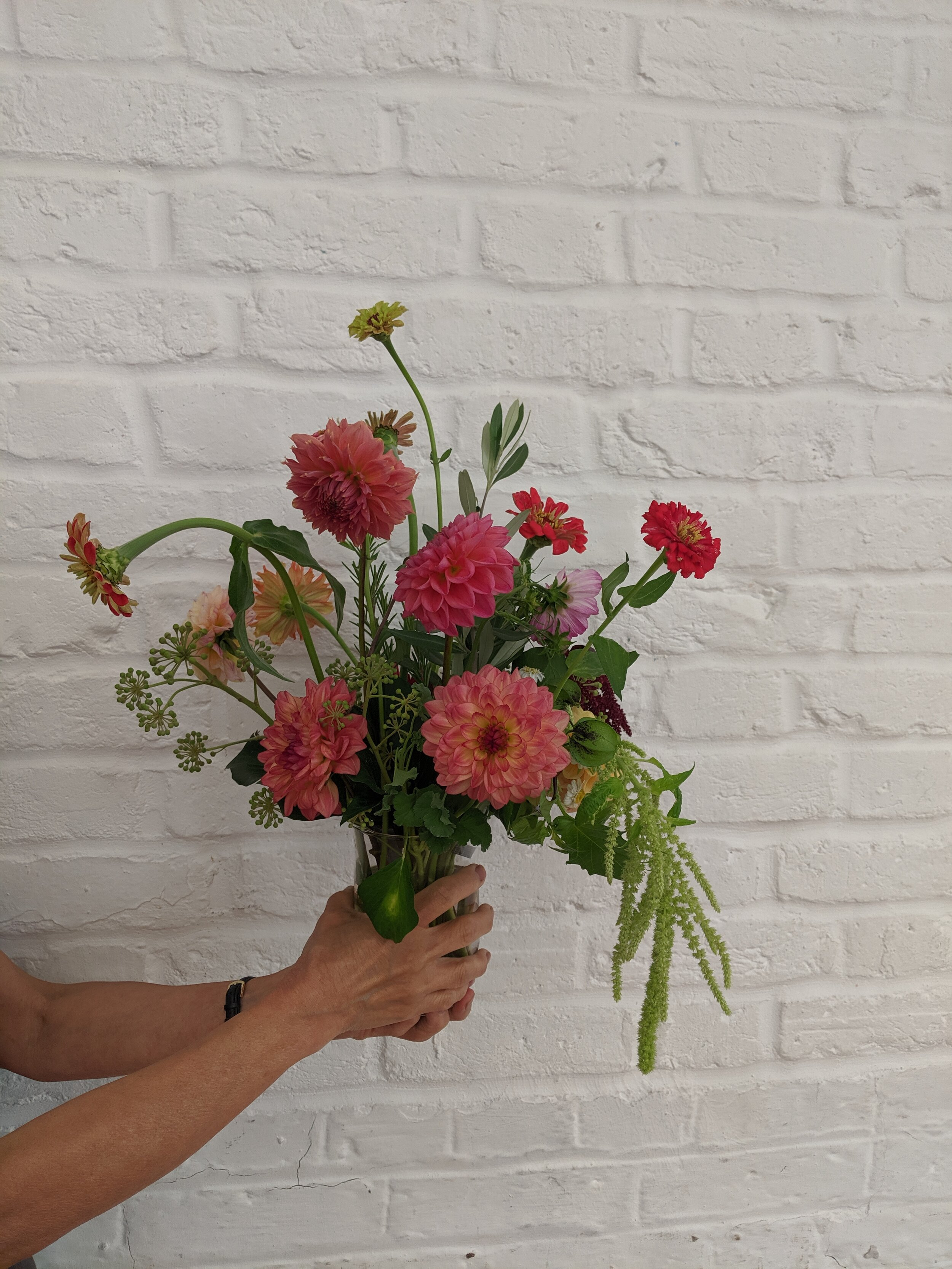 A stunning simple arrangement made by one of the ladies on our inaugural floristry workshop for survivors