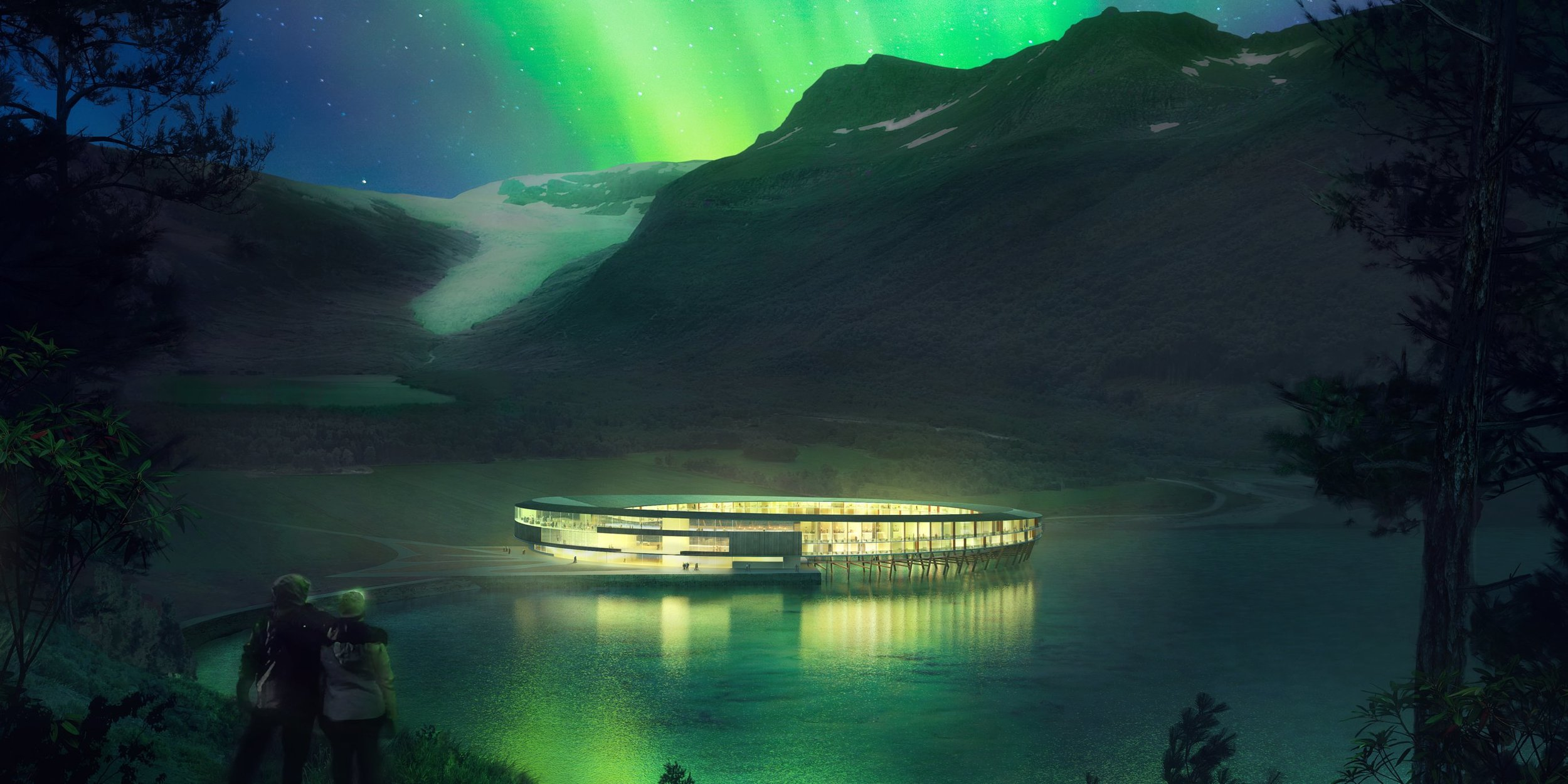 VIEW OF THE NORTHERN LIGHTS FROM THE SVART HOTEL, NORWAY