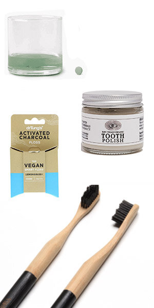 1. DENTAL DUTIES - TAKE CARE OF YOUR TEETH WITH NATURAL PRODUCTS.TOOTHBRUSH:Bamboo toothbrush replaces wastefull plastic alternatives while giving you the same quality of cleaning that a plastic brush can offer.PLASTIC FREE TOOTHPASTE JAR: Each year, 1 billion plastic toothpaste tubes end up in landfills, taking a very very long time to biodegrade and contributing to pollution. MAKE A CHANGE BY GOING TUBE-FREE.MOUTHWASH TABLETS: THese BY HUMANKIND TABLETS ARE formulated with baking soda, menthol, and natural flavoring. THE Container is refillable and guaranteed for life. $1 of your container purchase goes to removing plastic waste from the ocean.VEGAN FLOSS: DR TUNG'S ACTIVATE CHARCOAL FLOSS COMES IN A Recycled eco-friendly container AND IS MADE OF VEGAN natural plant wax. naturally enhance your cleansing.