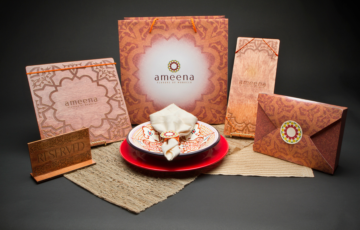 Ameena packaging design, featuring the back of dinner and drink menu.