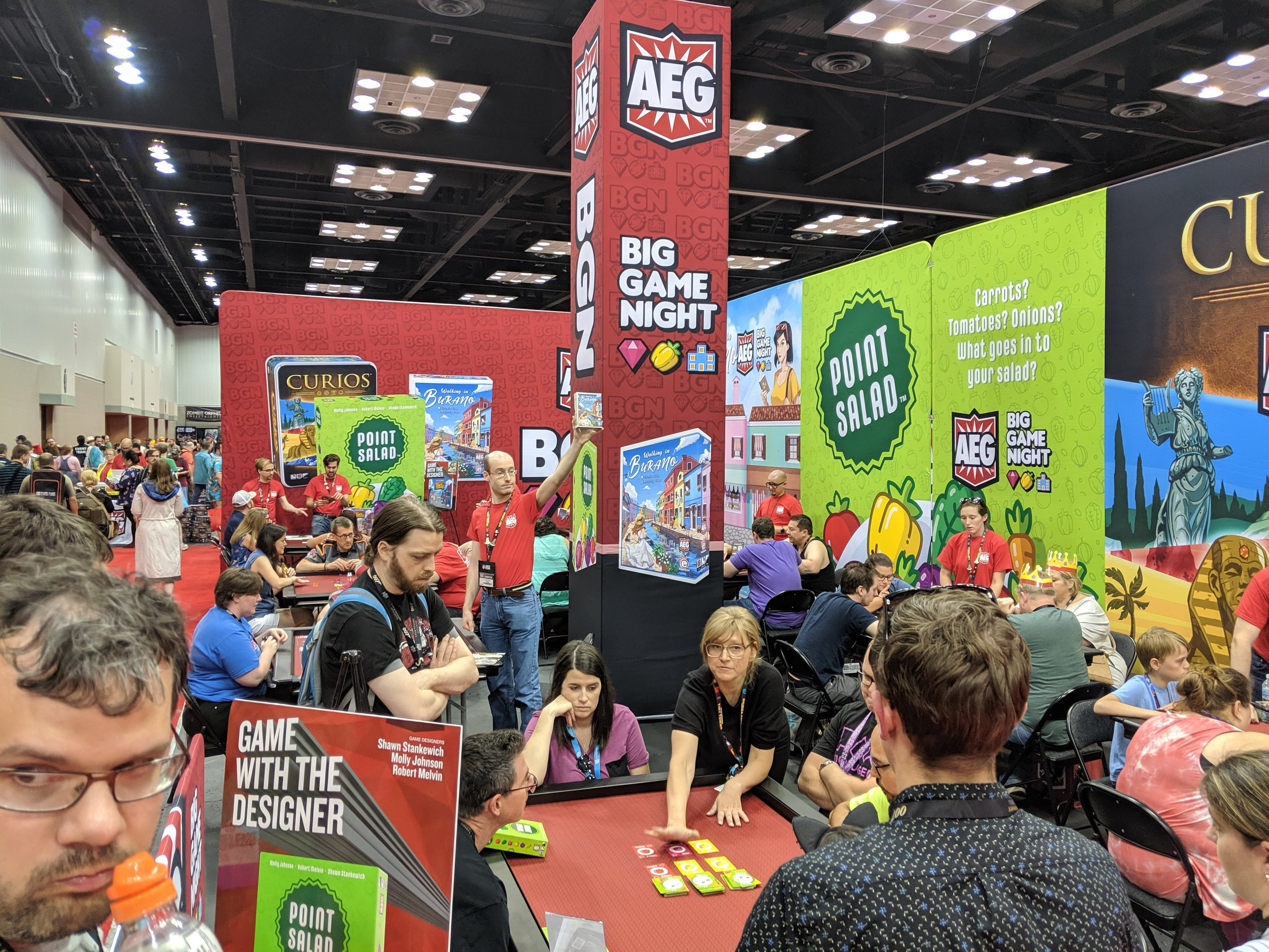 Molly teaches Point Salad at the AEG booth on Saturday at Gen Con 2019