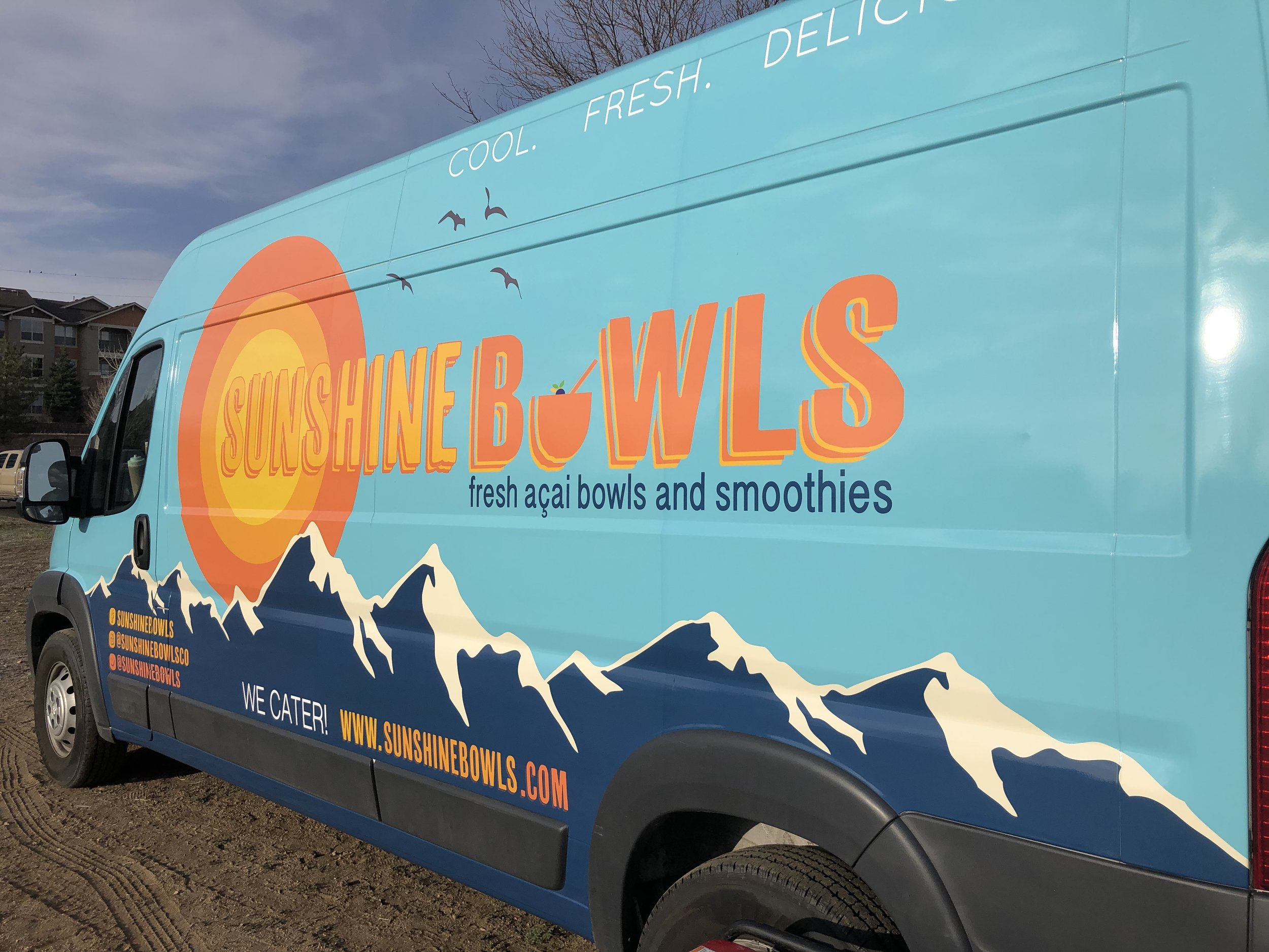 The new look of Sunshine Bowls. In 2019 we transitioned to a Dodge ProMaster van to improve maneuverability and make us available for even more events!