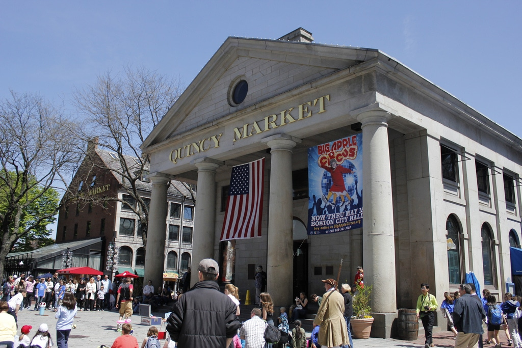 Quincy Market - Located right by little Italy and Faneuil Hall, Quincy Market is a historic Market in Boston and a popular spot for tourists.