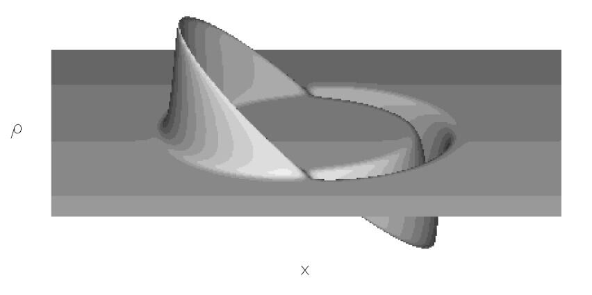 Mathematical shape function visualised of the Alcubierre warp drive metric of General Relativity