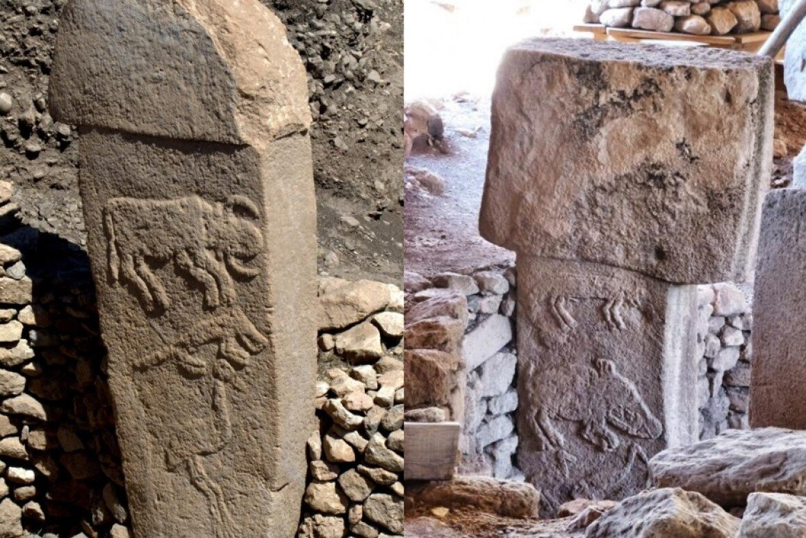 Examples of some of the stone T-shaped pillars found at Gobekli Tepe