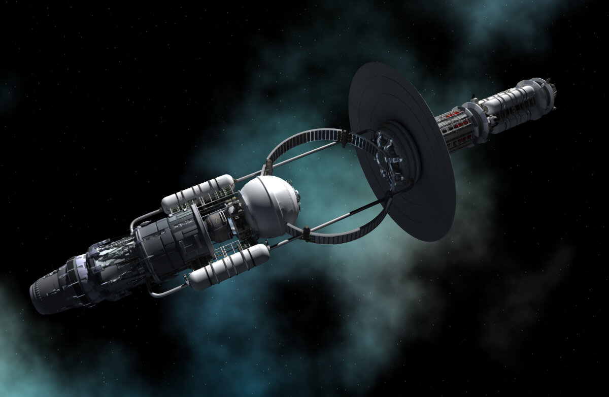 Black Hole Evaporator Engine (graphic by Adrian Mann, Concept invented by K. F. Long)