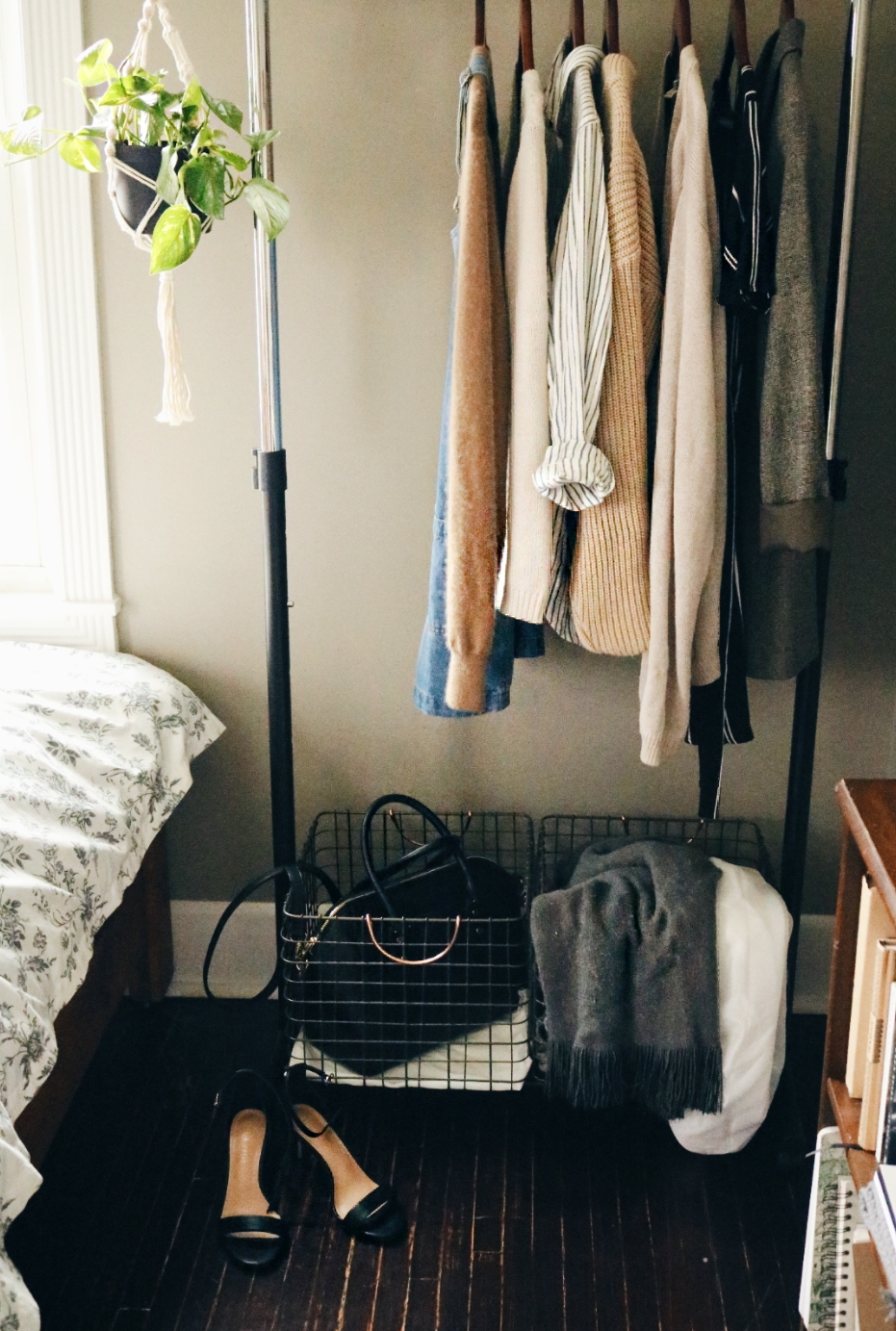 a look at my own space—I love to use my everyday belongings (like clothing accessories) as decor when I can.