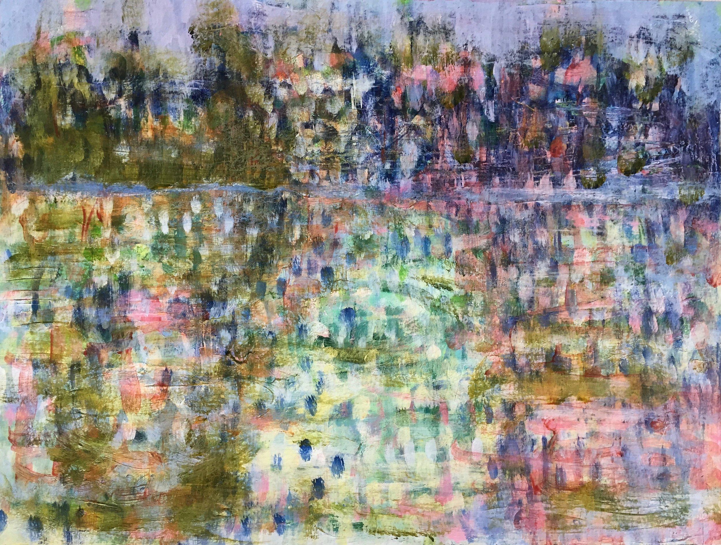 "Moonlit (4888) 9"" x 12""  Acrylic on Paper"