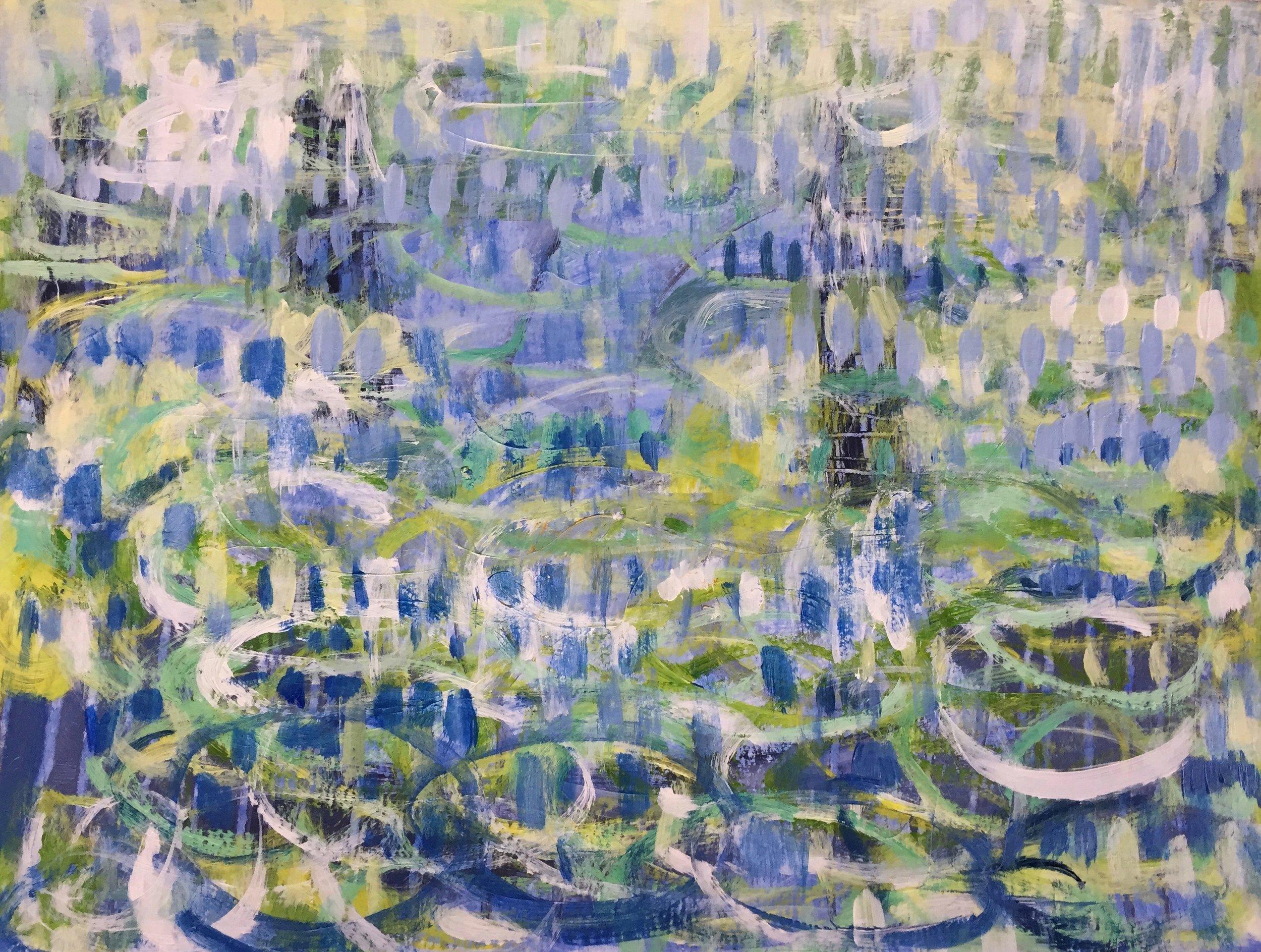 "Beautiful Blue (4894) 9"" x 12""  Acrylic on Paper"