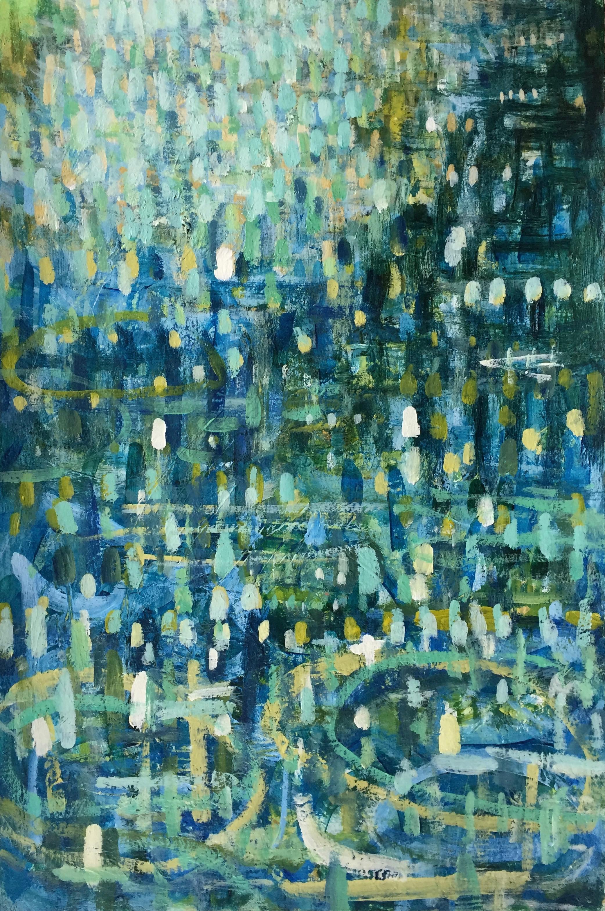 "Aqua Sparkle (4909) 12"" x 18""  Acrylic on Paper"