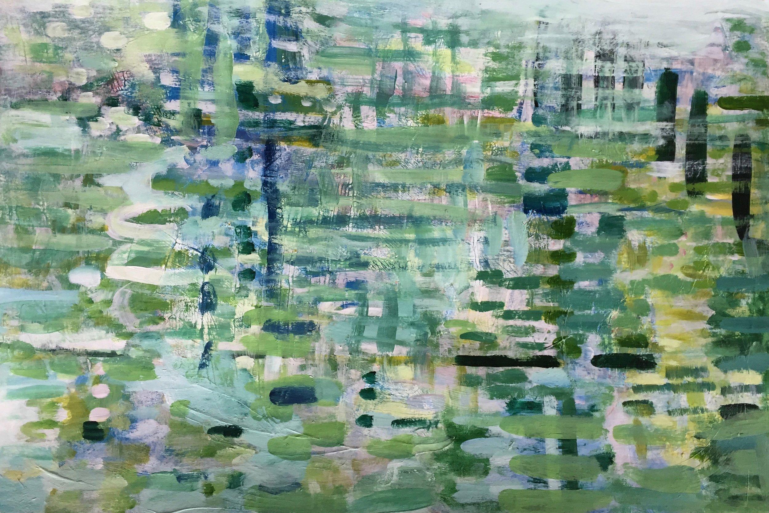 "Dappled Light (4912) 12"" x 18""  Acrylic on Paper"