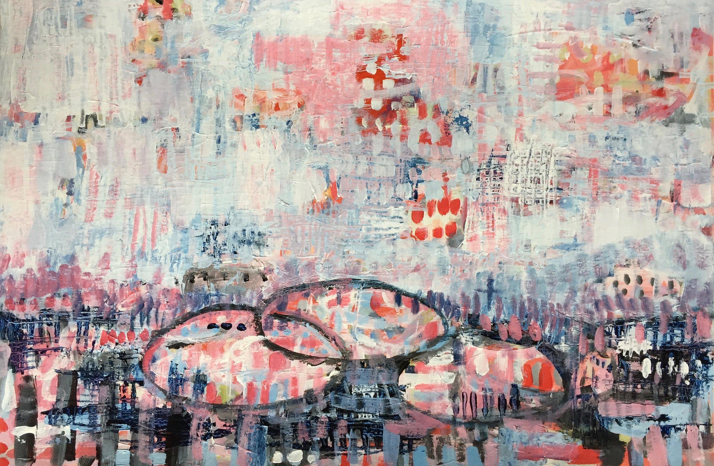 "Poppy Bright (4926) 12"" x 18""  Acrylic on Paper"