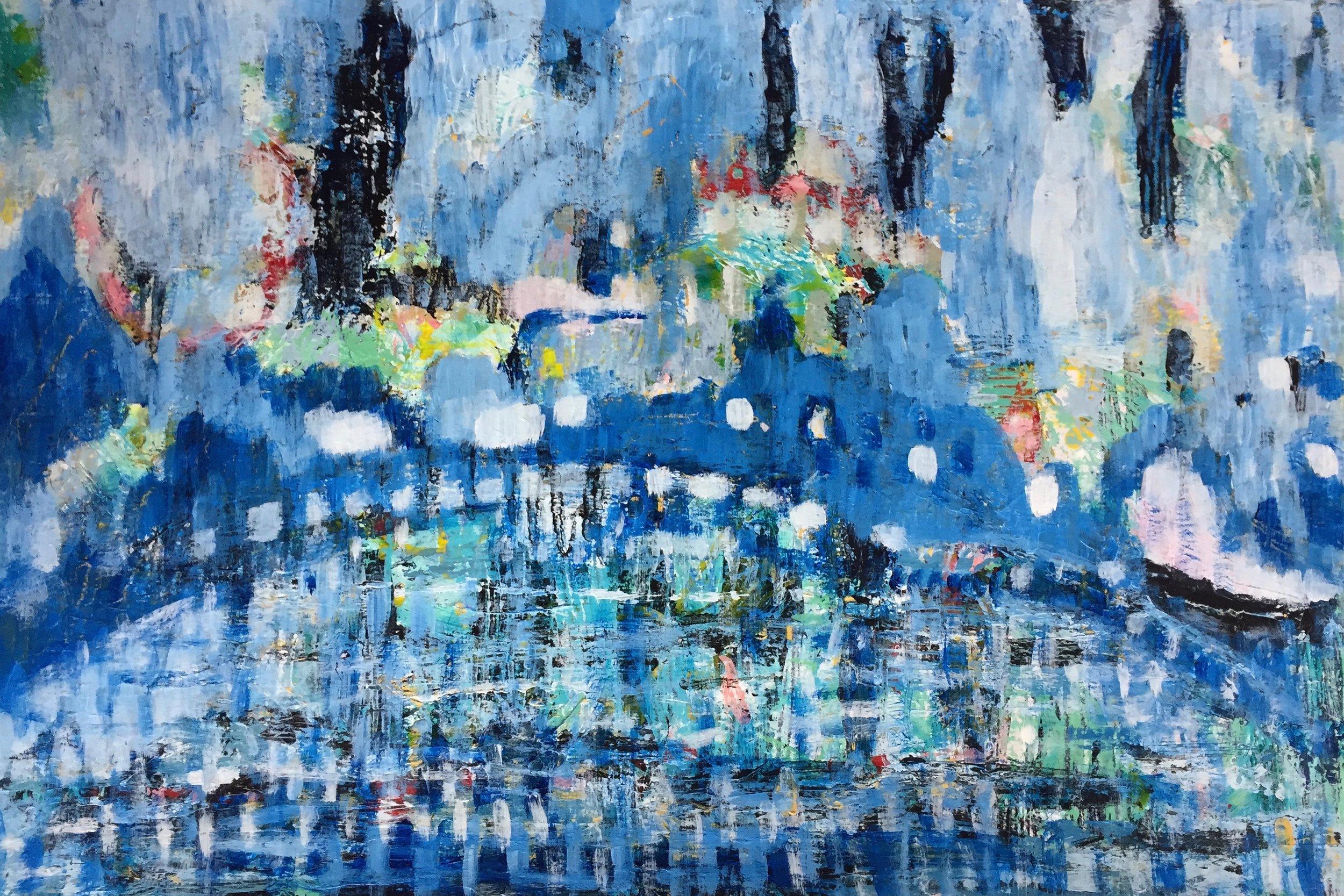 """Blue Bridge (4928) 12"""" x 18""""  Acrylic on Paper"""