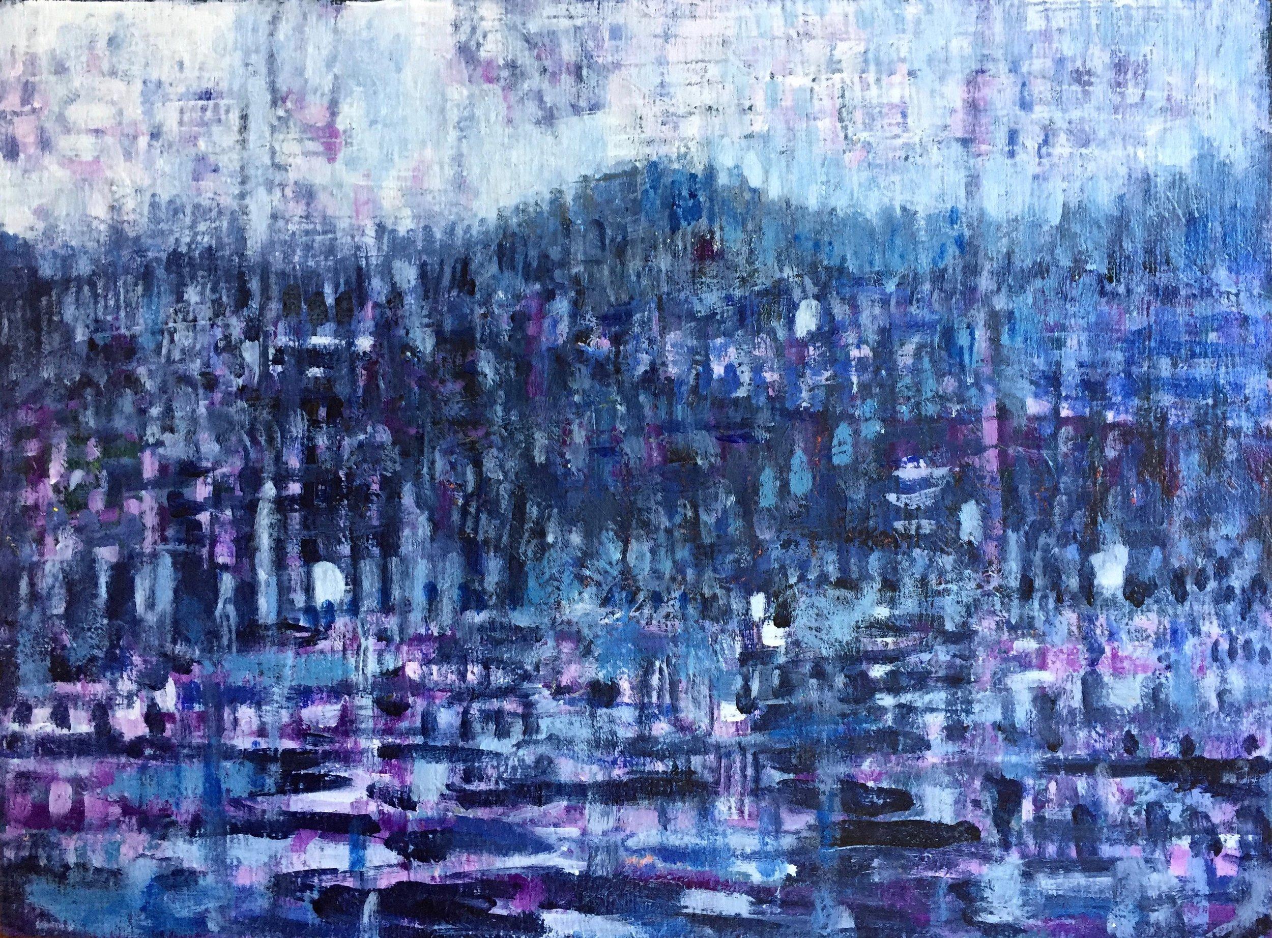 "Evening Reflection 12"" x 9""  Acrylic on Panel"