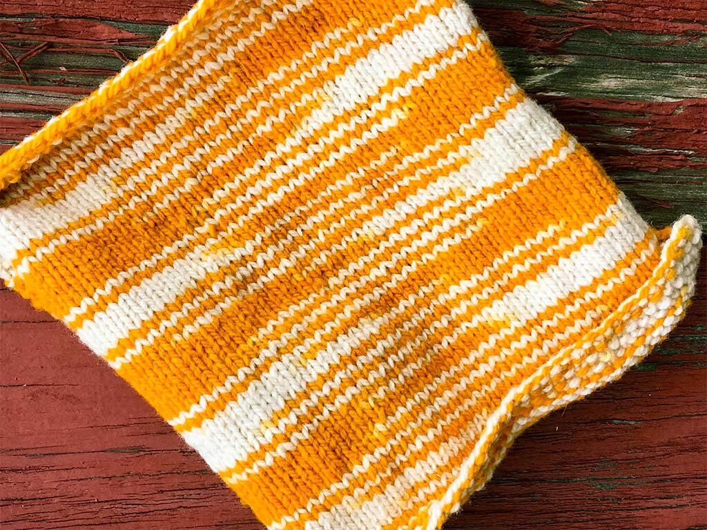 """A Sport weight """"Playful"""" yarn knitted back and forth in stockinette."""