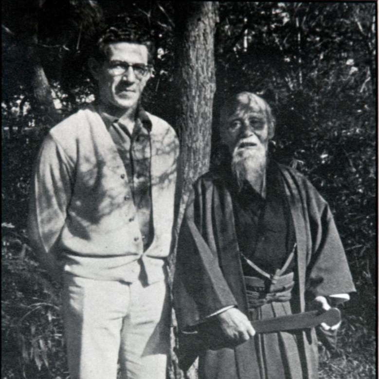 O'Sensei Morihei Ueshiba (founder of Aikido- right), Robert Nadeau Shihan (left)