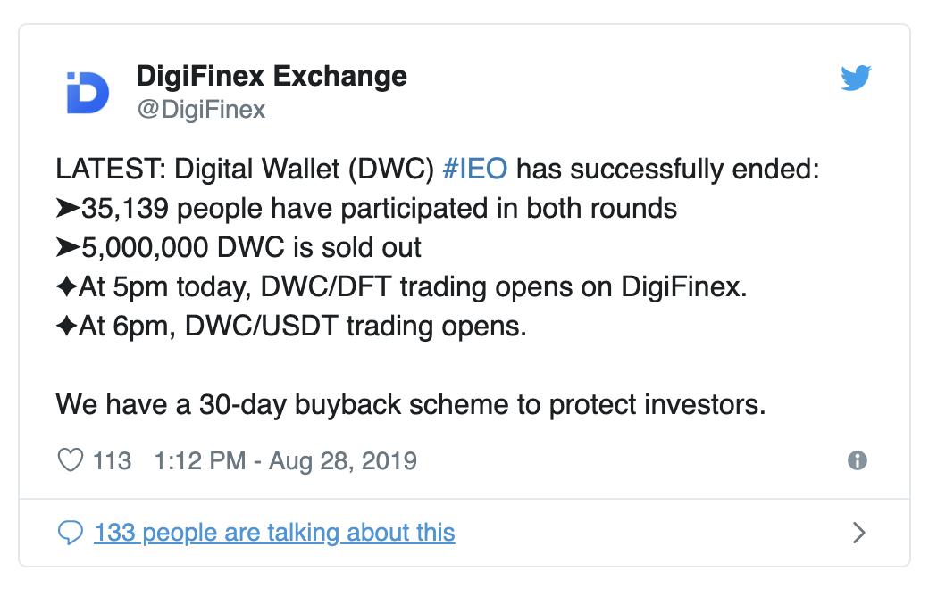 Twitter Post from Digifinex last August 28, 2019 ( https://twitter.com/DigiFinex/status/1166579295415930880 )