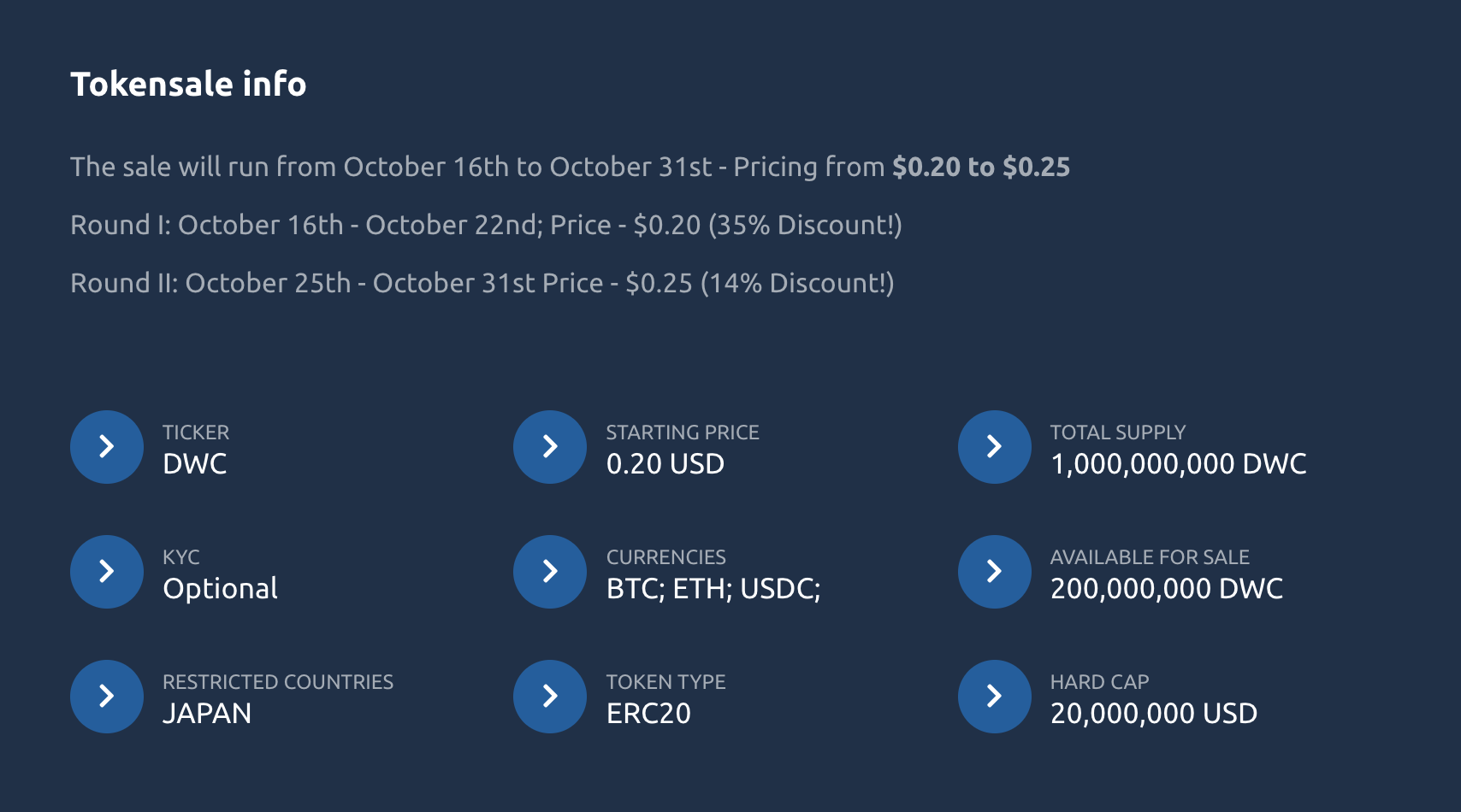 DWC Tokens pricing from 0,20 - 0.25 USD. Currencies: BTC, ETH, USDC.