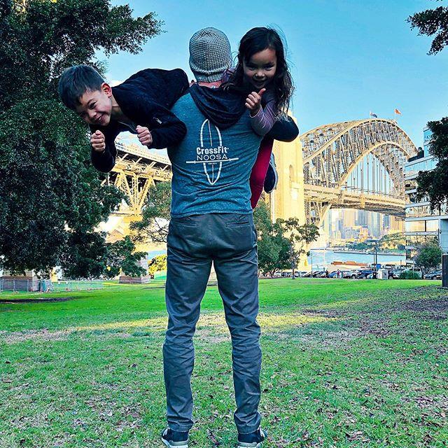 #crossfitnoosa on tour. Today's WOD: 2km bridge walk followed by double sandbag shoulder carry 💪💪 #crossfitnoosa #crossfitnoosaontour #kidsruinedmyback #sydneyharbourbridge #missnoosa #cominghomesoon #crossfitnoosalogo #crossfitnoosahoodie