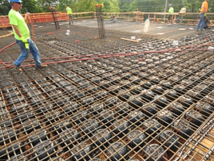 Preparing for Concrete Placement  — The well established grid makes preparation straightforward and inspection clear.