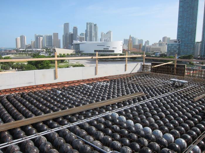 Removing Weight While Increasing Spans  — Engineers at Arup USA found this void system, used in a variety of slab thicknesses and configurations on the project, to be an efficient solution to several design challenges.