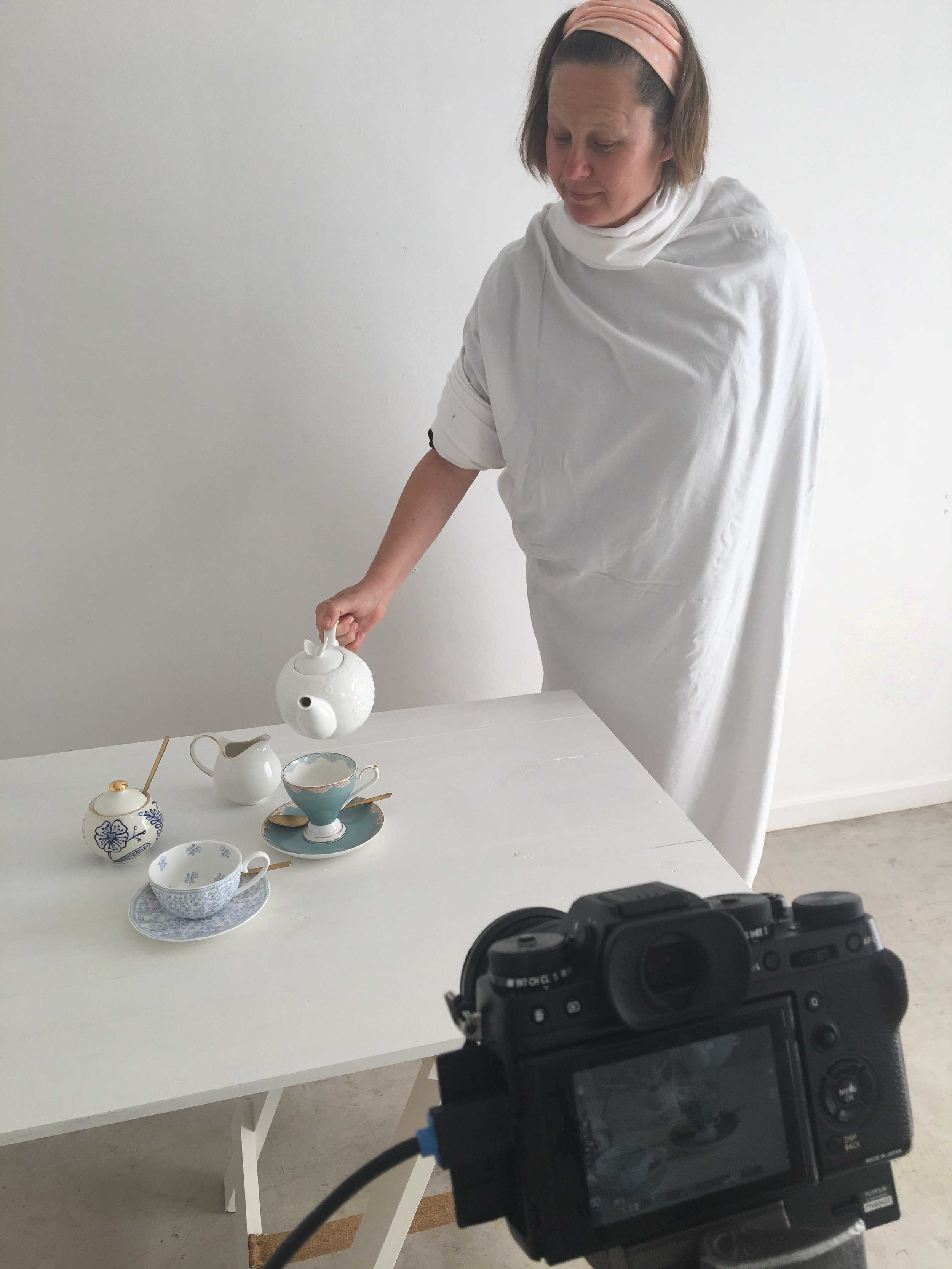 Shelly models the Toga — essential wear for stop motion photoshoots.