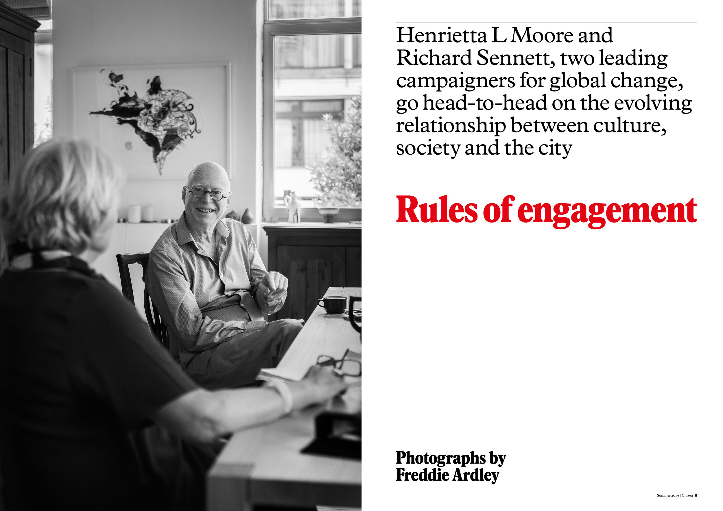 Rules of Engagement article: Richard Sennett & Dame Henrietta Moore. Photograph by Freddie Ardley.