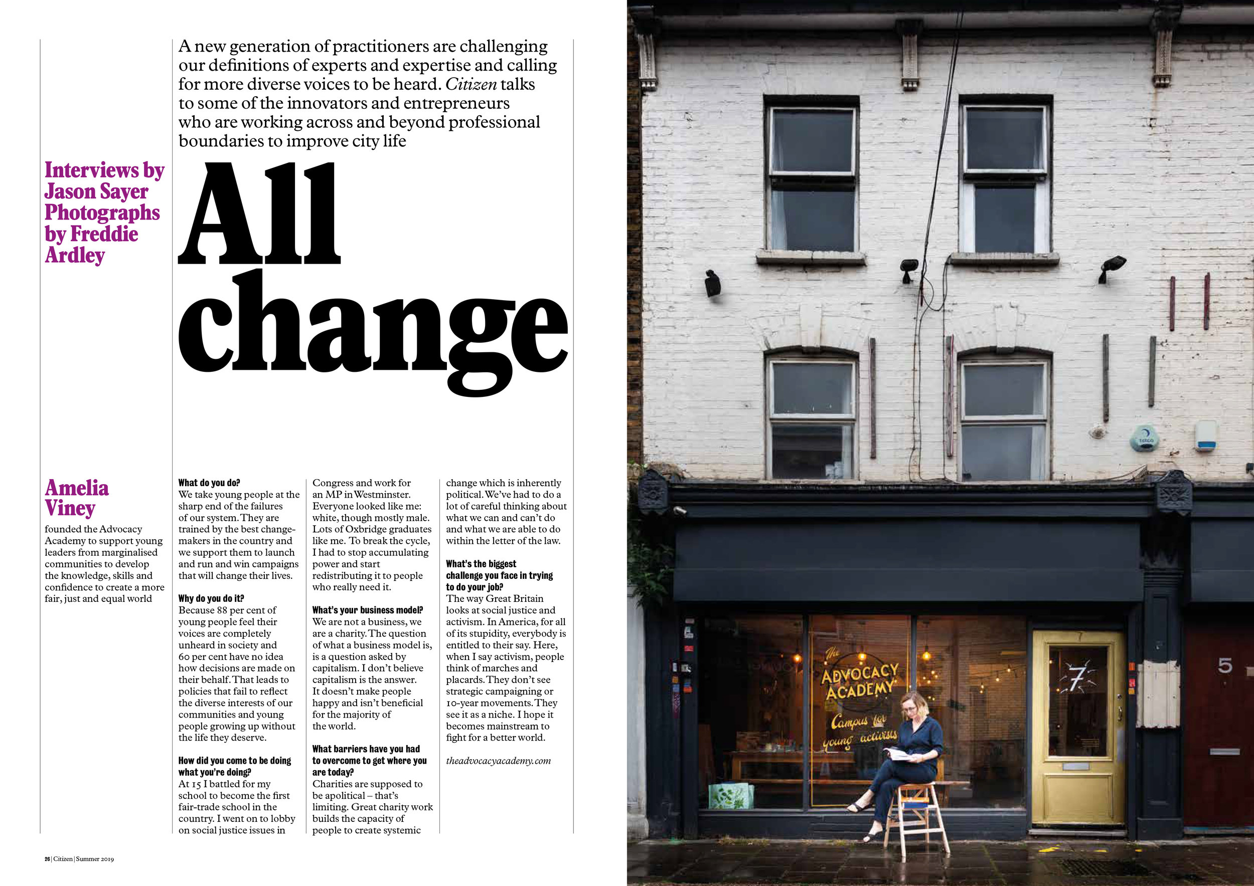 All Change Article featuring Amelia Viney. Photograph by Freddie Ardley.