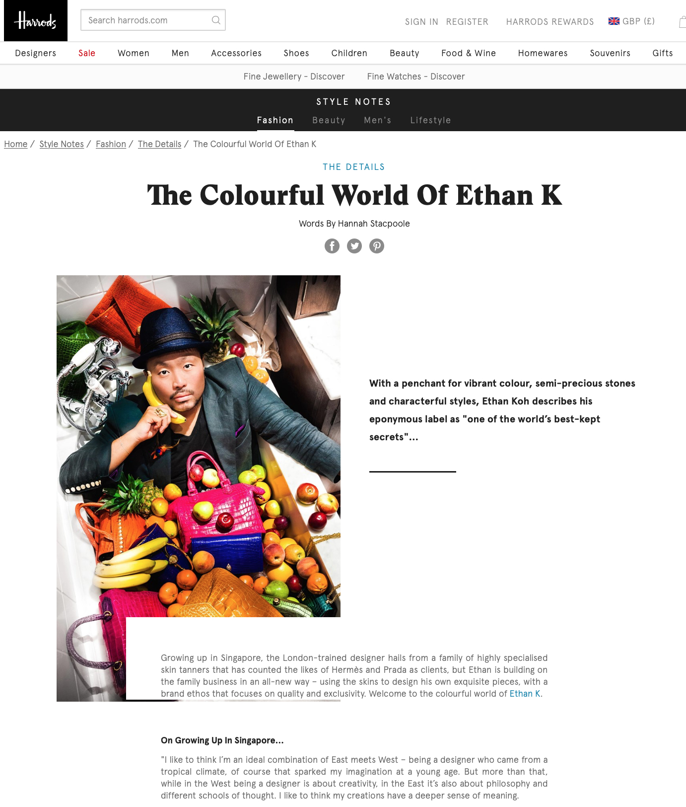 Harrods Style Notes: The Colourful World of Ethan K. Photographs by Freddie Ardley.
