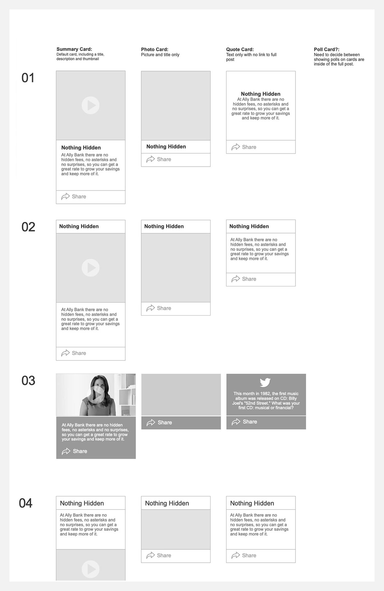 Low fidelity wireframes  helped provide a basis to rapidly generate and discuss ideas in the early stages of the project.