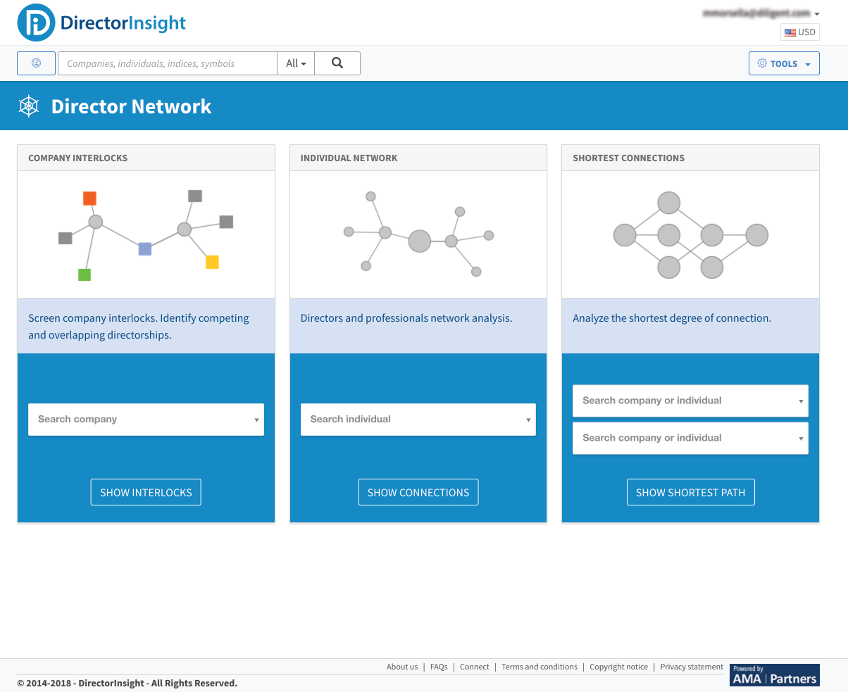 DirectorInsight was a standalone product that featured 3 distinct networking through search opportunities