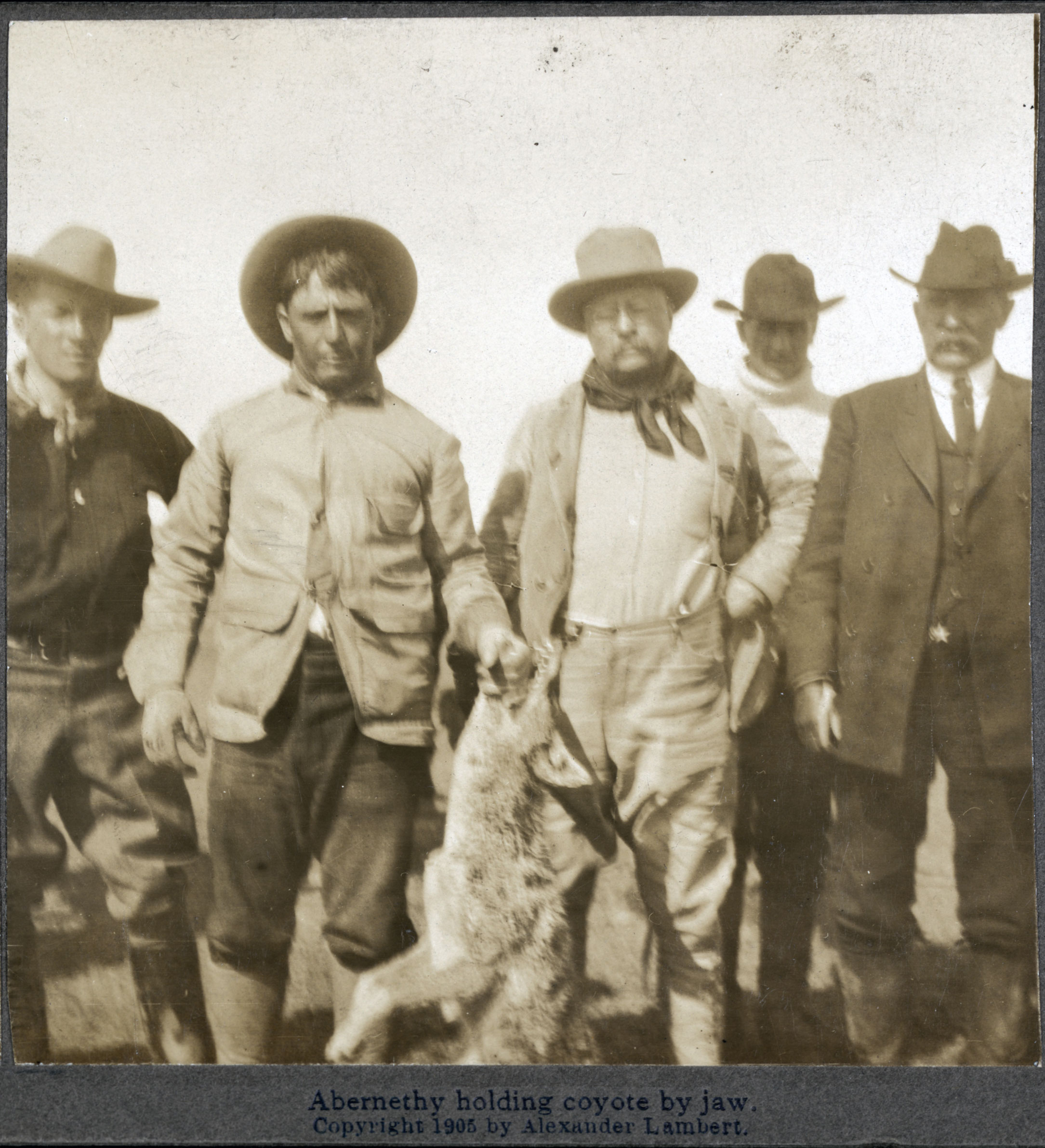US President Theodore Roosevelt accompanied John R. Abernethy and others on a hunt in southern Oklahoma Territory. 1905,  Library of Congress and Dickinson State University.