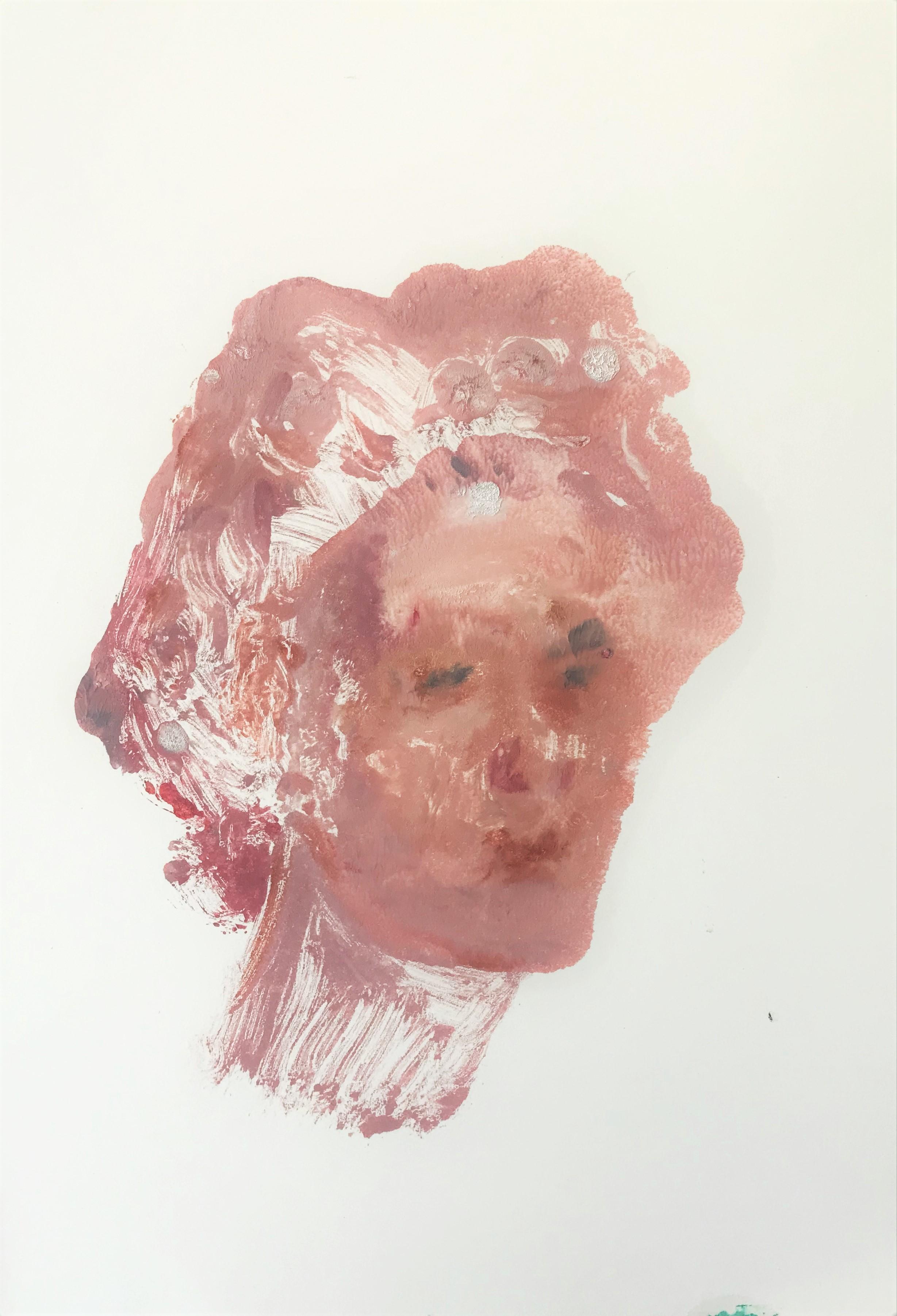 "oil on paper, ""Pink Apollo"""