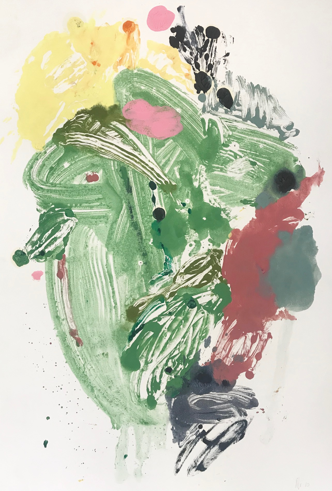 "oil on paper 76 X 112 cm, ""Green Diptych"""