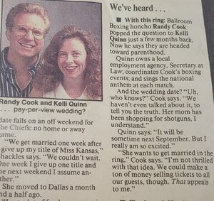 Our parents' engagement announcement in the Kansas City Star