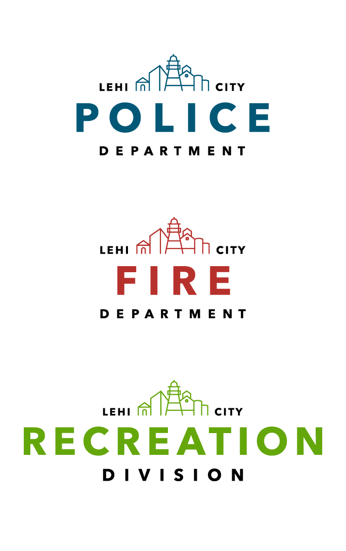 - The flexible nature of the logo allowed a smooth adoption by the three main departments of the city: Police, Fire, and Recreation. Additionally, a tertiary level of logos was designed to fit the needs of dozens of departments within the city.